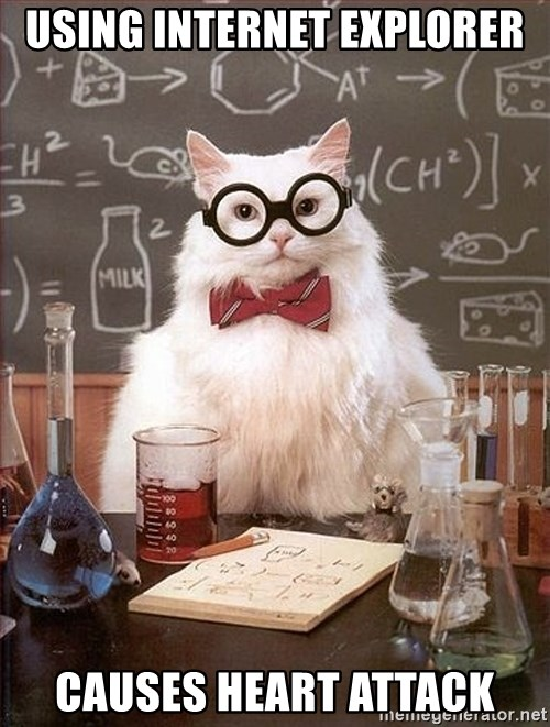 Science Cat - Using internet explorer causes heart attack