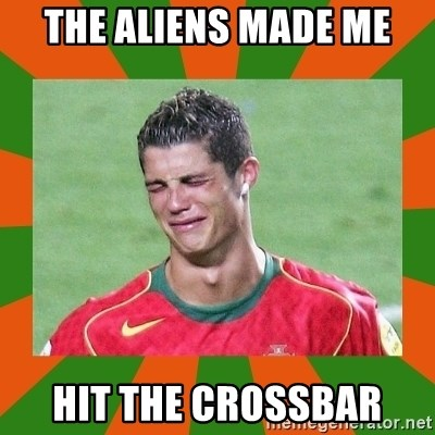 cristianoronaldo - the aliens made me hit the crossbar