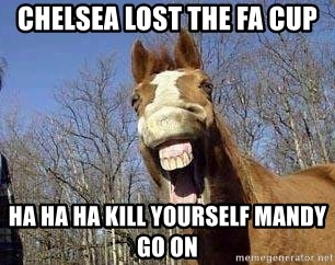 Horse - chelsea lost the fa cup ha ha ha kill yourself Mandy go on