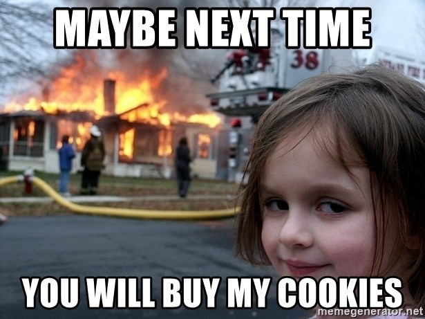 Disaster Girl - maybe next time  you will buy my cookies