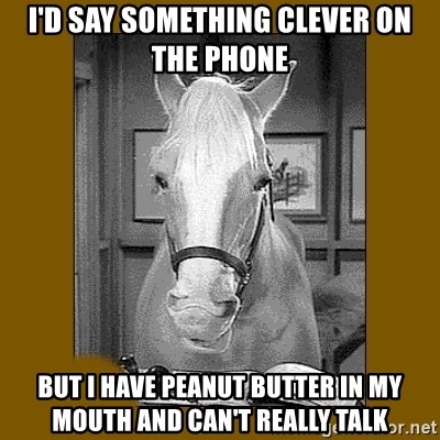 Mr. Ed 2.0 - I'd say something clever on the Phone But I have peanut butter in my mOuth and can't really talk