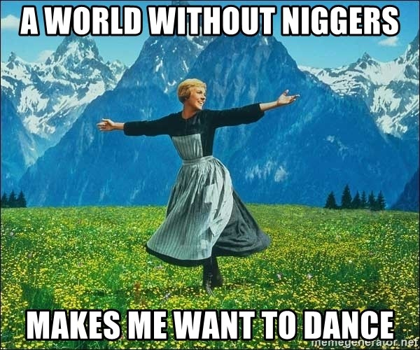 Look at all the things - A world without niggers Makes me want to dance