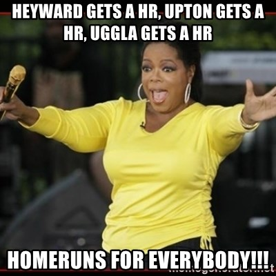 Overly-Excited Oprah!!!  - Heyward gets a hr, Upton gets a hr, uggla gets a hr Homeruns for everybody!!!