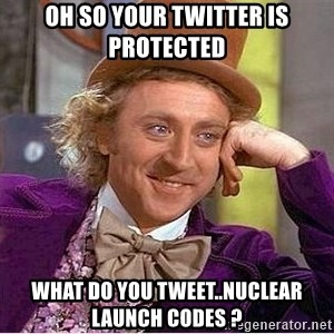 Oh so you're - oh so your twitter is protected what do you tweet..NUCLEAR LAUNCH CODES ?