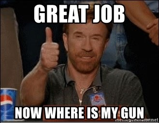 Chuck Norris Approves - GREAT JOB NOW WHERE IS MY Gun