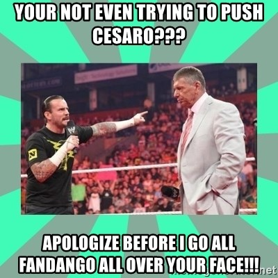 CM Punk Apologize! - Your not even trying to push CESARo???   APOLOGIZE before i go all fandango all over your face!!!