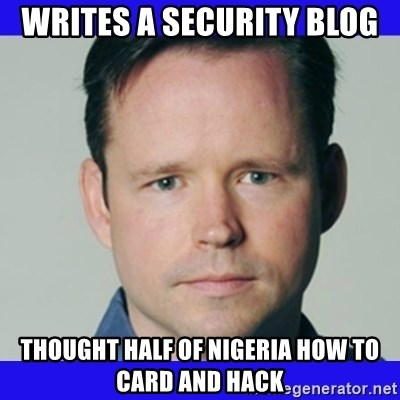 krebsonsecurity - Writes a security blog thought half of nigeria how to card and hack