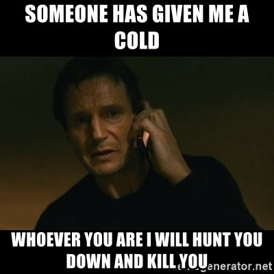 liam neeson taken - Someone has given me a cold whoever you are i will hunt you down and kill you