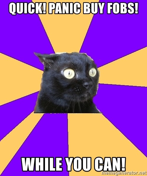 Anxiety Cat - QUICK! PANIC BUY FOBS! WHILE YOU CAN!
