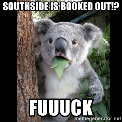 Koala can't believe it - Southside is booked out!? FUUUCK