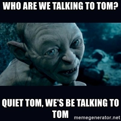 gollum - Who are we talking to tom? quiet tom, we's be talking to tom
