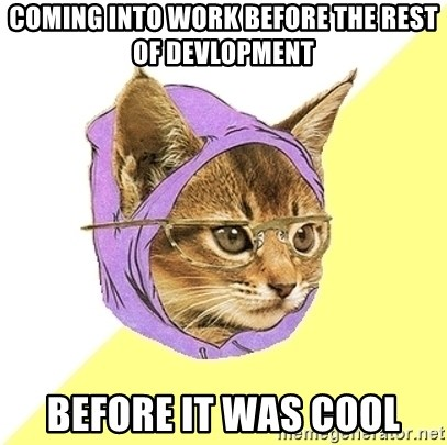 Hipster Kitty - Coming into work before the rest of devlopment before it was cool