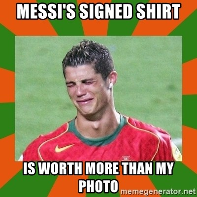 cristianoronaldo - messi's signed shirt is worth more than my photo