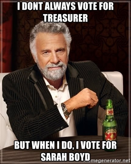 The Most Interesting Man In The World - I dont always vote for treasurer but when i do, i vote for sarah boyd