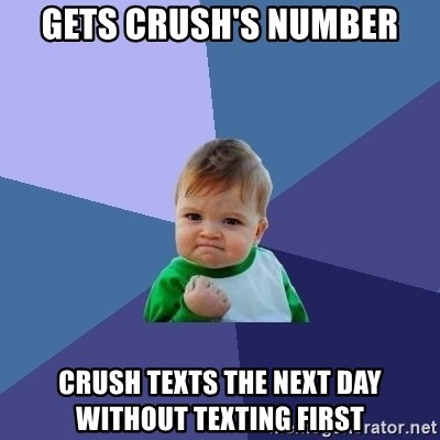 Success Kid - gets crush's number crush texts the next day without texting first