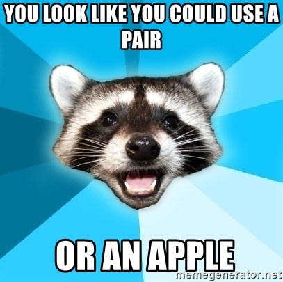 Lame Pun Coon - you look like you could use a pair  or an apple