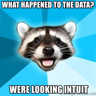 Lame Pun Coon - what happened to the data?  were looking intuit
