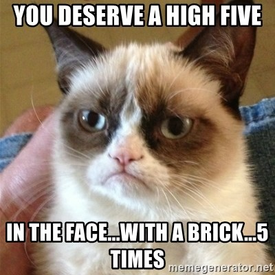 Grumpy Cat  - YOU DESERVE A HIGH FIVE IN THE FACE...WITH A BRICK...5 TIMES