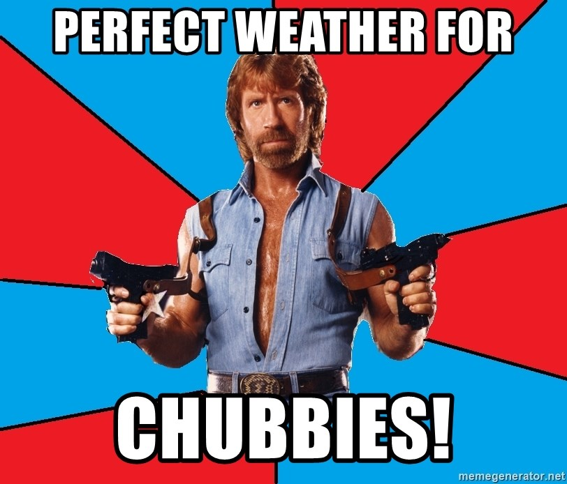 Chuck Norris  - Perfect weather for Chubbies!