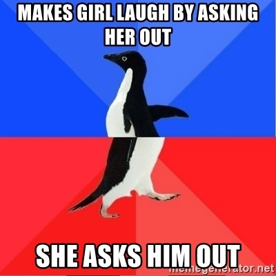 Socially Awkward to Awesome Penguin - Makes girl laugh by asking her out she asks him out