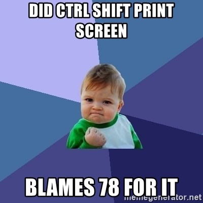 Success Kid - did ctrl shift print screen blames 78 for it