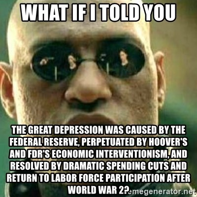 What If I Told You - What if i told you the great depression was caused by the federal reserve, perpetuated by Hoover's and FDr's economic interventionism, and resolved by dramatic spending cuts and return to labor force participation after World War 2?