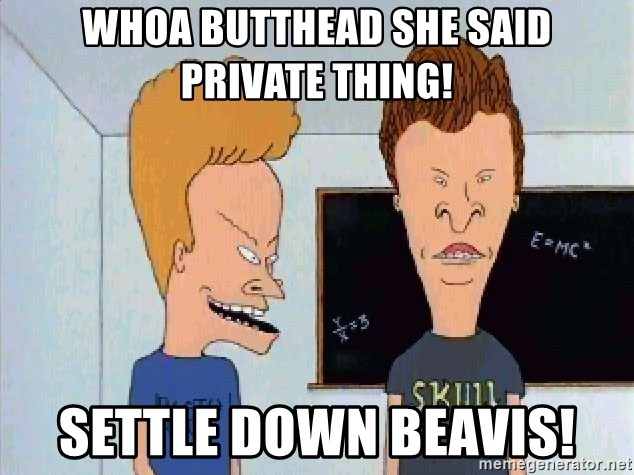 Beavis and butthead - Whoa butthead she said private thing! Settle down Beavis!