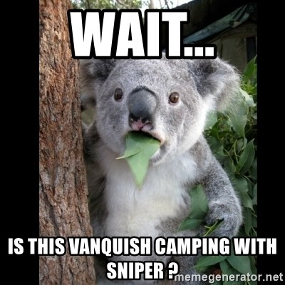Koala can't believe it - wait... IS this VANQUISH camping with SNIPER ?