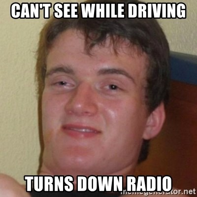 Stoner Guy - Can't see while driving turns down radio