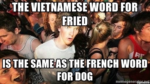-Sudden Clarity Clarence - The Vietnamese word for frIed Is the same as the French Word for dog