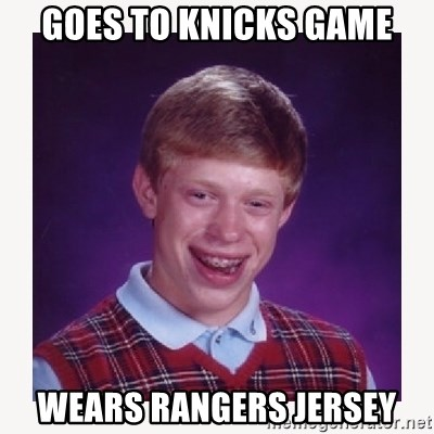 nerdy kid lolz - GOES TO KNICKS GAME WEARS RANGERS JERSEY