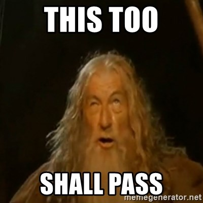 Gandalf You Shall Not Pass - this too shall pass
