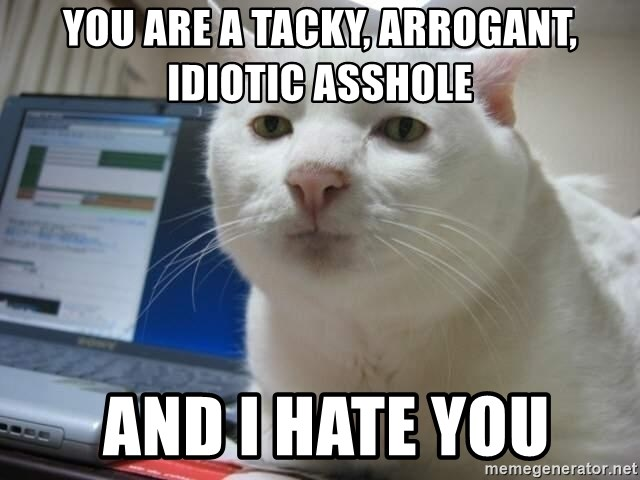 Serious Cat - you are a tacky, arrogant, idiotic asshole  and i hate you