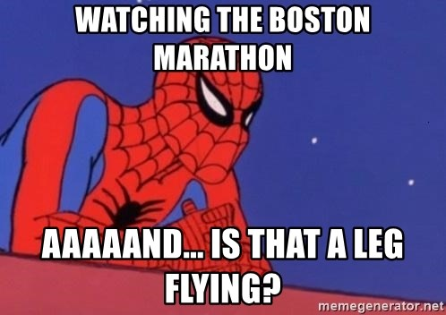 Leaning Spiderman - Watching the boston marathon aaaaand... is that a leg flying?