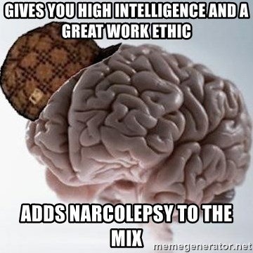 Scumbag Brain - Gives you high intelligence and a great work ethic adds narcolepsy to the mix