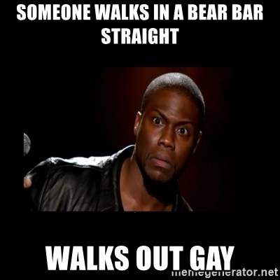 Kevin Hart Grandpa - someone walks in a bear bar straight walks out gay