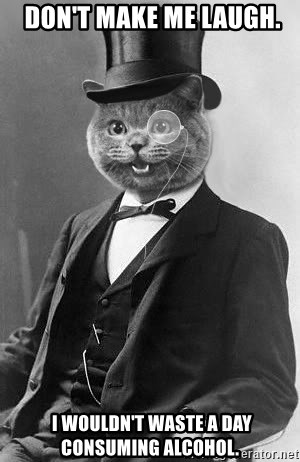 Monocle Cat -  Don't make me laugh.  I WOULDN'T WASTE A DAY CONSUMING ALCOHOL.
