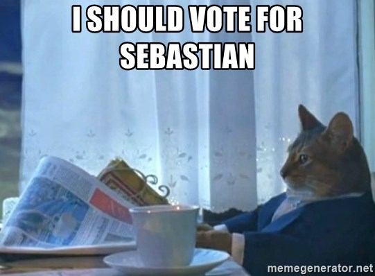 Sophisticated Cat - I should vote for sebastian