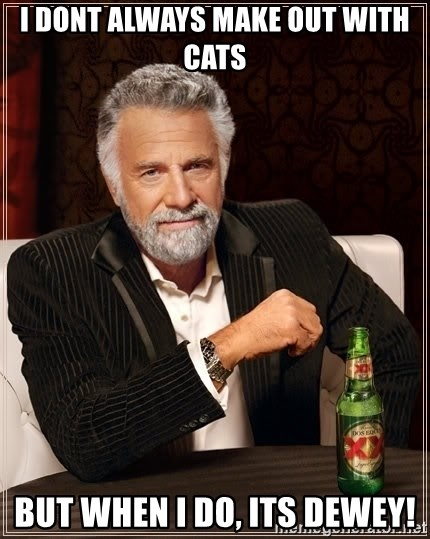 The Most Interesting Man In The World - i dont always make out with cats but when i do, its dewey!
