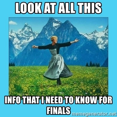 the hills are alive - Look at all this info that i need to know for finals