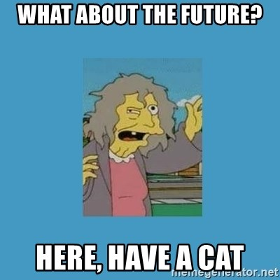 crazy cat lady simpsons - what about the future? here, have a cat