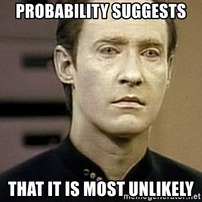 Star Trek Data - Probability suggests That it is most unlikely