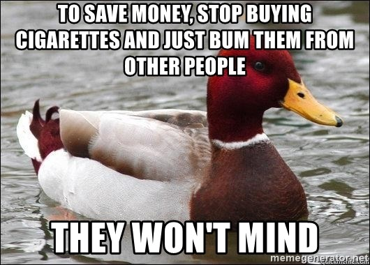 Malicious advice mallard - To save money, stop buying cigarettes and just bum them from other people they won't mind