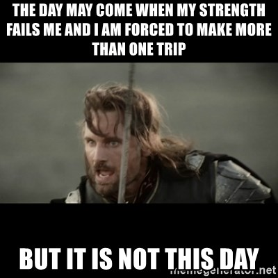 But it is not this Day ARAGORN - The day may come when my strength failS me and I am forced to make more than one trIp But it is not this day