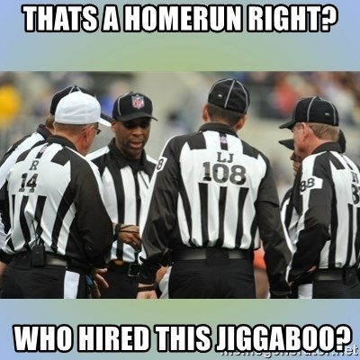 NFL Ref Meeting - thats a homerun right?  Who hired thIs jiGgaboo?