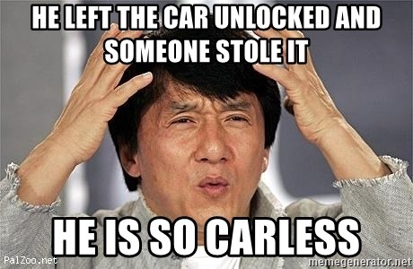 Confused Jackie Chan - he left the car unlocked and someone stole it he is so carless