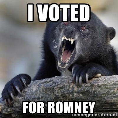 Insane Confession Bear - i voted for romney