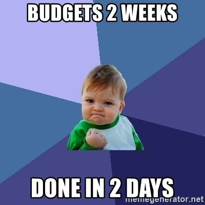 Success Kid - BUDGETS 2 WEEKS DONE IN 2 DAYS