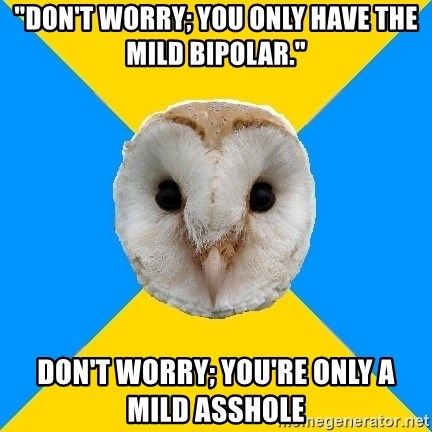 "Bipolar Owl - ""Don't worry; you only have the mild bipolar."" Don't worry; you're only a mild asshole"