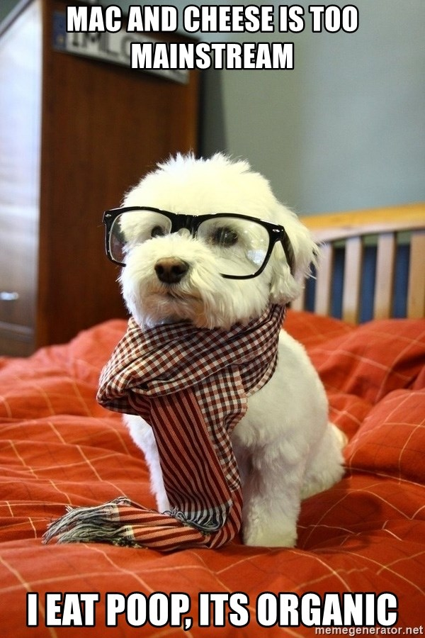 hipster dog - mac and cheese is too mainstream I eat poop, its organic